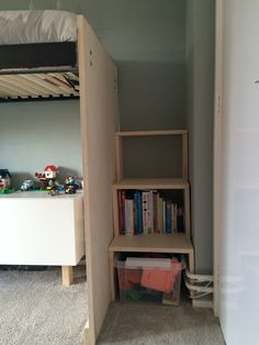 Sem's bed, stairs with storage. #creative #selfmade #poplex #smalroom