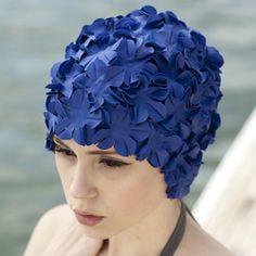 Popina Swimwear : Flowered Retro Swim Cap, get your retro on with this sporty colored swim cap.