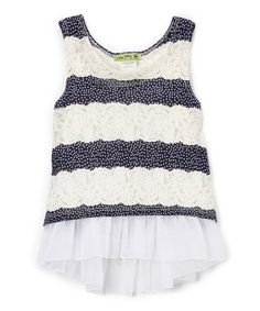 Look at this Navy & Ivory Stripe Ruffle Top - Kids & Tween on #zulily today!