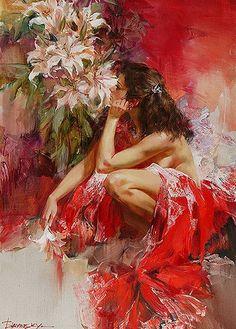 Ivan Slavinsky ~ Surrealist and impressionist painter Ivan Slavinsky 1968 Woman Painting, Figure Painting, Painting & Drawing, Foto Fantasy, Fantasy Art, Art Beauté, Beauty Art, Beautiful Paintings, Figurative Art