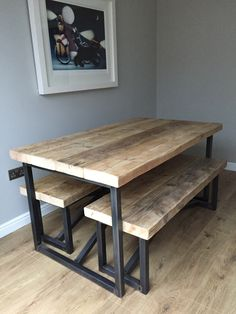 Large Reclaimed Wood Dining Table and Benches - www.reclaimedbespoke.co.uk