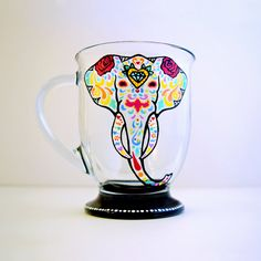 Elephant Mug  Hand Painted Glass  Sugar Skull  by NocturnalPandie