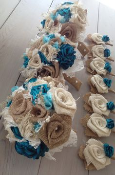 Items similar to Beautiful shabby chic bridal bouquets with turquoise silk and tan burlap(listing is for one bridal bouquet) on Etsy Shabby Chic Flowers, Rustic Shabby Chic, Burlap Flowers, Flax Flowers, Chic Wedding, Trendy Wedding, Rustic Wedding, Wedding Ideas, Wedding Stuff
