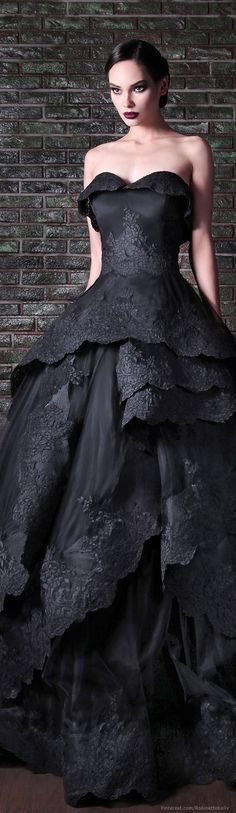 Rami Kadi | Couture, F/W 2014; minus the ruffle of material folded over the top of the bust.