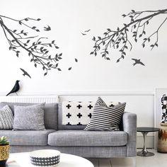 Branches avec feuilles et oiseaux unicolore Wall Decal - WAL-2114A par DecalLab sur Etsy https://www.etsy.com/ca-fr/listing/99061958/branches-avec-feuilles-et-oiseaux