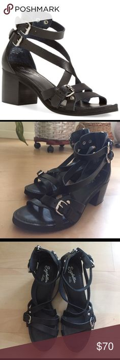 Seychelles Aquarius Ankle Strap Sandal Layered, crisscrossed straps with a chunky stacked heel.  Zip closure and super comfortable! Worn only a few times. Seychelles Shoes Sandals