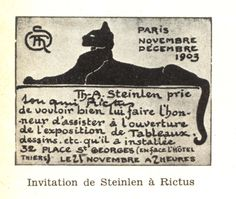 Invitation of Steinlen to Jehan-Rictus (a French poet), for a Steinlen's art exhibition, 1903