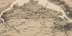 Civil War Bird's Eye View of Washington Area - Ghosts of DC - One of the first GoDCers, John, sent along an awesome old maps site a few days ago, appropriately named Old Maps Online. Poking around the site this past weekend (I was in a big map phase), I came across this gem from the Boston Public Library. Technically, not really a map … more a bird's