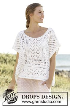 """Knitted DROPS loose fitted top with lace pattern in borders in """"Paris"""". Free Pattern"""