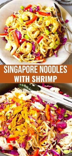 Singapore noodles, with a few changes, is one of my family's favorite meals. Shrimp, edamame and tons of veggies & flavor! 274 calories and 5 Weight Watchers SP | Recipe | Easy | With Shrimp | Healthy | Curry powder #singaporenoodles #ricenoodles #currynoodles #shrimprecipes #dinnerrecipes Rice Noodle Recipes, Yummy Pasta Recipes, Heart Healthy Recipes, Skinny Recipes, Shrimp Recipes, Dinner Recipes, Asian Recipes, Top Recipes, Kitchens