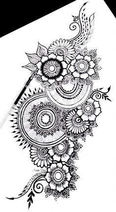 Small Flower Tattoos, Flower Tattoo Designs, Tattoo Flowers, Drawing Flowers, Mandala Drawing, Mandala Art, Mandala Doodle, Compass Tattoo, Mandala Tattoo Schulter