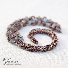 chainmaille copper bracelet jewelry with labradorite by Verha