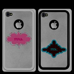 Awesome wedding gift idea! Mr & Mrs iPhone 4 cases! Available at http://www.Cafepress.com/jinxeddesigns (in wedding party section!)