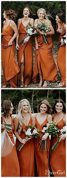 f20e90ade3b Orange Spaghetti V Neck Strap Long Bridesmaid Dresses Cheap APD1746