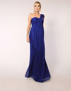 Floor-length Sapphire One Shoulder Hand Ruching Long Chiffon Bridesmaid Dresses (22 days)