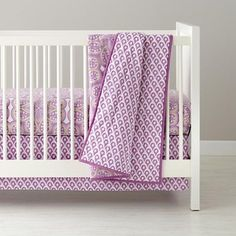 Mosaic Paisley Crib Bedding, Lavender, sold by the Land of Nod.