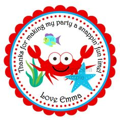 Red Ocean Crab Personalized Stickers Labels Gift by maxandbella
