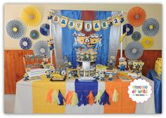 Despicable Me Minons birthday party dessert table! See more party ideas at CatchMyParty.com!