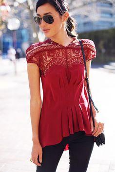 beautiful crochet top shirt, peplum waist