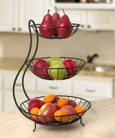 Add functionality and beauty to your table or countertop with this charming, three-tiered bowl.