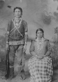 An unidentified couple of the Omaha Tribe, circa 1870. No additional information.