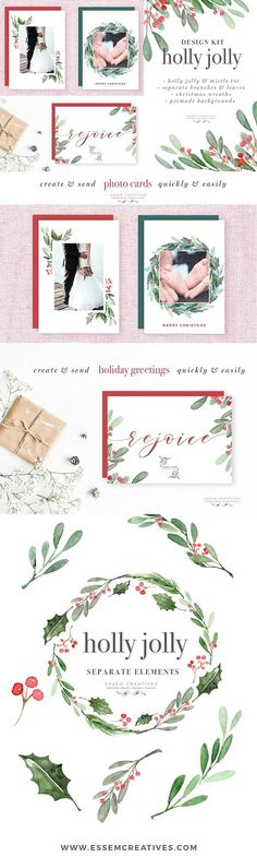 """Watercolor Holly Jolly Clipart, Christmas Wreath Graphics, Christmas Card Templates, Watercolor Holiday Card Borders, 5x7 Digital Background, A4 Christmas Border, Seasons Greeting, Corporate Card Background  """"Holly Jolly""""is a watercolor christmas clipart set. It includes christmas holly wreaths, pre-made photo card & christmas card backgrounds & borders in 5x7 inches & A4 size, and also separate holly branches, mistle toe & more for DIY designs."""