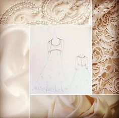 Lace satin and guipure lace to choose from and your dream dress sketched before your eyes. A snippet of what you can expect from your consultation with us for your bespoke made to measure dress! Bridal Gowns, Wedding Gowns, Wedding Day, Dress Sketches, Fabric Samples, Designer Wedding Dresses, Dream Dress, Dressmaking, Wedding Styles