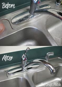 The Craft Patch: Pinterest Tested: Stainless Steel Sink Cleaner: Start with the vinegar and baking soda, then apply Goo Gone and end with an olive oil buffing.