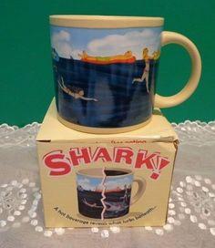 Shark Coffee Cup Mug Ceramic Swimming Ocean Summer Fun Hot Cold