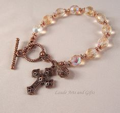 Rosary Bracelet Copper Pale Luster Beads by LaudeArtsandGifts, $19.99