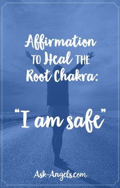 "Affirmation to Heal the Root Chakra: ""I am safe"" Daily Meditation, Chakra Meditation, Chakra Affirmations, Positive Affirmations, Root Chakra Healing, Chakra Root, Self Treatment, Spiritual Guidance, Spiritual Path"