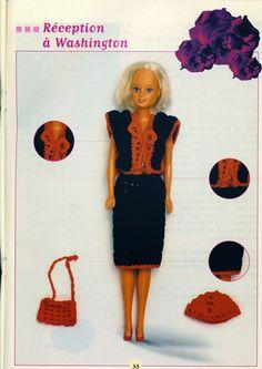 "Barbie is going to a ""Reception in Washington"" in this cute set ♥LCB♥ with diagrams--- Barbie Crochê Miniaturas e Coisas Mais -"