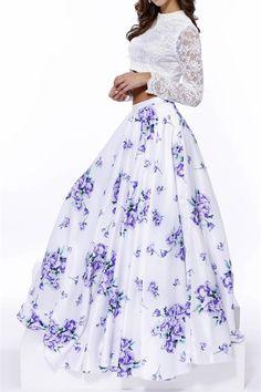 Sienna White Textured Crop Top Floral Skirt Set