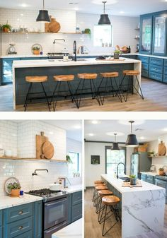 Tie in a grey feature wall with the same grey under eating bar in kitchen or lower grey cabinets?? Fixer Upper Season 3 - the school house *waterfall island + tiled wall/hood