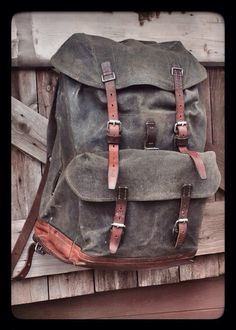Vintage 1950's Swiss Army canvas & leather backpack: reconditioned