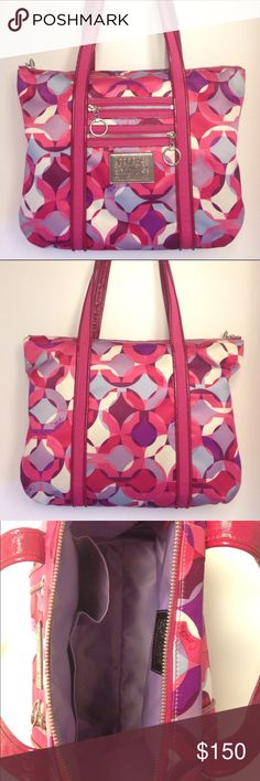 Coach Pink Poppy Kaleidoscope Glam Tote This rare Coach multicolor purse is a stunning bag! Lightly used yet in great condition - interior cell phone pocket stitching is slightly loose at top but is secure. A unique addition to any closet. Coach Bags Shoulder Bags