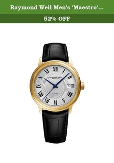 Raymond Weil Men's 'Maestro' Swiss Gold-Tone and Leather Automatic Watch, Color:Black (Model: 2237-PC-00659). Yellow gold PVD stainless steel case with a black croco-embossed calfskin leather strap. Fixed yellow gold PVD bezel. Silver dial with blue hands and Roman numeral hour markers. Minute markers around the outer rim. Dial Type: Analog. Date display at the 3 o'clock position. Calibre RW 4200 automatic movement with a 38-hour power reserve. Scratch resistant sapphire crystal…