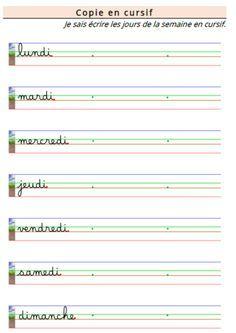 Apprendre à écrire les jours de la semaine