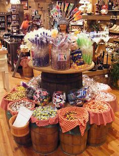 Old-Fashioned Candy Store Displays Candy Store Display, Gift Shop Displays, Craft Show Displays, Store Displays, Display Ideas, Country Store Display, Retail Displays, Merchandising Displays, Window Displays