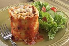 Lasagna Roll Ups 1 lb.) ricotta cheese ½ cup grated Parmesan cheese, divided 9 cooked lasagna noodles 2 cups mozzarella cheese divided Preheat oven to Bake 45 minutes. Kraft Foods, Kraft Recipes, Beef Recipes, Cooking Recipes, Pasta Recipes, Lasagna Recipes, Rice Recipes, Yummy Recipes, Healthy Recipes