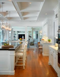 Kitchen white, pendant lights, open floor plan