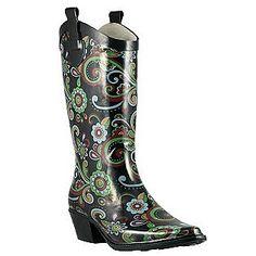 Paisley western style rain boot