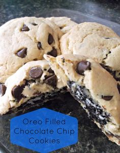Oreo Filled Chocolate Chip Cookies Recipe. I'm such a fan for any recipe that includes Oreos in it; can't wait to make these!