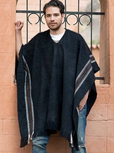 Alpaca Mall Black poncho with brown lines - Top quality alpaca clothing for men and women direct from the artisans and manufacturers. Brown Line, Black And Brown, Mens Poncho, Cheap Mens Fashion, Men Fashion, Poncho Outfit, Alpaca Poncho, Clothing Patterns, Menswear