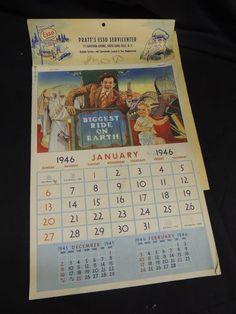 Vintage 1946 Pratt's ESSO Gas Service Station Calendar Glen Falls NY Advertising