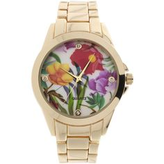 Womens Floral Dial Gold-Tone Bracelet Watch ($28) ❤ liked on Polyvore featuring jewelry, watches, floral jewelry, dial watches, geneva wrist watch, watch bracelet and geneva watches