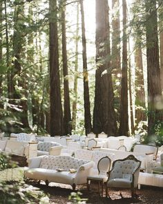 Such a fairy tale in the woods! Mix and Matched wedding chairs | itakeyou.co.uk #weddingchair #weddingceremony #forestwedding