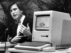 At The Original Is Still An Archetype Of Innovation : All Tech Considered Richings Ratana - Steve Jobs, the late founder and former CEO of Apple, announces the Apple Macintosh computer at a shareholders meeting on Jan. Steve Jobs Apple, George Orwell 1984 Book, Job Guide, Sony, Steve Wozniak, Fab Life, Old Computers, Best Inspirational Quotes, Geometric Patterns