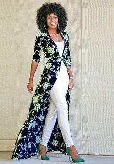 Buy Blue Floral Print Sashes V-neck Fashion Maxi Dress online with cheap prices … Dress Over Pants, White Dress Pants, Silk Pants, Vestidos Fashion, Women's Fashion Dresses, Look Fashion, Womens Fashion, Fashion Trends, Petite Fashion