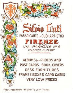 Silvio Luti shop card, Florence Italy, 1935. Found inside a travel guidebook.